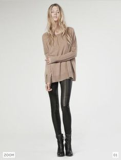 Leather leggings and oversized sweater!