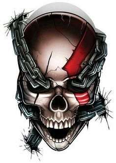 God of War Temporary Tattoo - Game Over Biomech Tattoo, Yakuza Tattoo, Skull Tattoo Design, Tattoo Designs, Motion Images, Image In Motion, Kratos God Of War, Totenkopf Tattoos, Skull Pictures