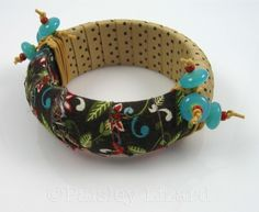 Picture of fabric and ribbon covered bangle bracelet