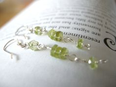 Linear Peridot Sterling Silver Earrings / Green Glow by EmeraldCut, $28.50