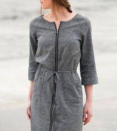One please! : Grey Hemp Zip Front Dress