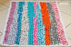 Brilliant DIY Rag Rug - Learn how to crochet a rug out of scraps of fabric.