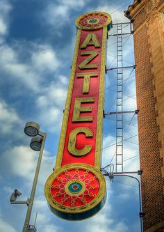 Aztec Theatre | San Antonio -- Built in 1926, the Aztec Theatre is a notable example of the impressive exotic-theme motion picture palaces constructed in the United States during the economic boom of the 1920s. #ata54