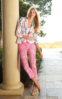 Lilly Pulitzer Spring 2013 - Malibu Blazer in Lucky Charm, Luxury Capri in Show Your Stripes and Kat Kitten Heel. Shop this look: http://www.lillypulitzer.com/ensemble/entity/49069-49057-47290.uts?img=7#