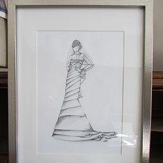 Bridal Wedding Dress Hand Drawn Gift