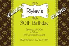 Swirls Birthday Party Invitations, Bridal Shower Invitations, Bachelorette Party Invitations, Bachelor Party Invitations  - ANY COLOR SCHEME - Get these invitations RIGHT NOW. Design yourself online, download and print IMMEDIATELY! Or choose my printing services. No software download is required. Free to try!