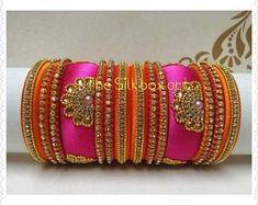 Indian Wedding Bangles Set of 14 Silk Thread Bangles Design, Silk Bangles, Silk Thread Earrings, Bridal Bangles, Long Tassel Earrings, Thread Jewellery, Fancy Jewellery, Bracelet Fil, Indian Wedding Jewelry