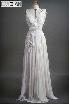 Freeshipping Cheap Column V-neck Appliqued Chiffon Bridal Wedding Dress