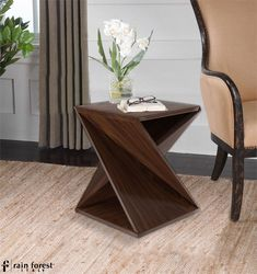 Twisted Geometry End Table Wenge Rainforest Italy Center Living Roomtable