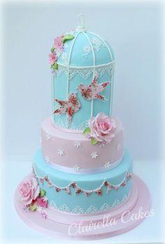 Vintage Cath Kidston Inspired Birdcage Wedding Cake   by Clairella Cakes  - http://cakesdecor.com/cakes/207316-vintage-cath-kidston-inspired-birdcage-wedding-cake