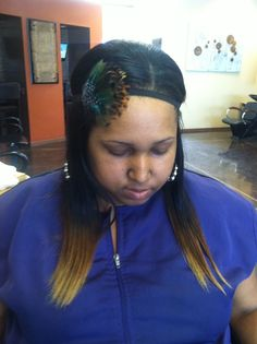 Brazillian hair extension with low lights and high lights on the ends Facebook.com/citygirls