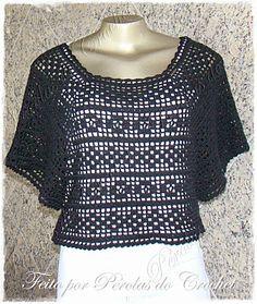 * Pérolas do Crochet: Blusa em crochet Filé preta