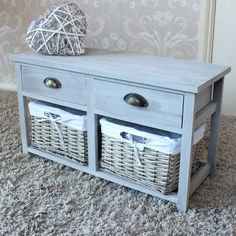 SHALLOW Vintage Grey Range - Two Drawer with Wicker Baskets Storage Bench