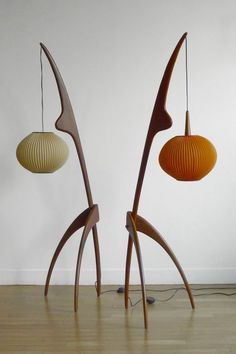 1950 Eames floor lamps  I adore these! They look sculptural in both an Alexander Calder sort-of-way, as well as a tribal artifact sor-of-way. They are wonderfully anthropomorphic as well as gestural. I crave this!