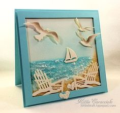 KC Impression Obsession Beach Chairs 4 right Scrapbooking, Scrapbook Cards, Impression Obsession Cards, Nautical Cards, Beach Cards, Sea Theme, Bird Cards, Ocean Themes, Marianne Design