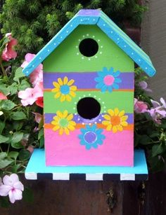 FREE US Shipping Colorful Whimsical Birdhouse by RachaelsGarden, $62.00