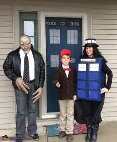 Samantha: This is a picture of me and my Doctor Who-loving family! My husband is The Silence, my son is The Doctor, and I am The Tardis! Geronimo!.