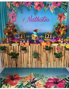 example of personalized backdrop anniversary 20 Agosto another mujer Aloha Party, Hawaiian Luau Party, Hawaiian Birthday, Flamingo Birthday, Flamingo Party, Luau Birthday, Kids Luau Parties, 13th Birthday Parties, Birthday Party Themes