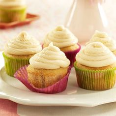Irish Cream Cupcakes Recipe -If you're looking for a grown-up cupcake, give these a try. You'll have a hard time limiting yourself to one! —Jenny Leighty, West Salem, Ohio