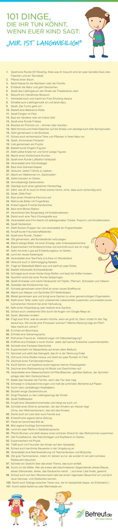 Was tun gegen Langeweile: 101 Ideen für Spiel und Spaß mit Kind 101 tips against boredom for children – German *** BORING – Things-To-Do-When … List German 4 Kids, Diy For Kids, Cool Kids, Baby Kids, Crafts For Kids, Children, Diy Game, Amusement Enfants, Baby Co