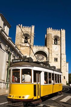 Tram the famous tourist-friendly scenic line that runs through Lisbon, runs past the Se (Cathedral) in the city's Alfama district. Spain And Portugal, Lisbon Portugal, Lisbon Tram, Famous Places, Walking Tour, Historical Sites, Where To Go, Places Ive Been, The Good Place