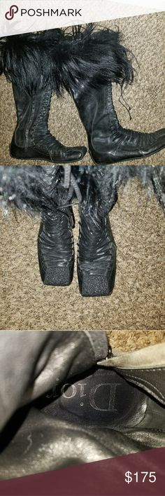 Authentic Christian Dior Boots with Real Fur!!! Beautiful detailed and furry Christian Dior Real Fur Trim Boots are warm and fuzzy! These are the perfect fall and winter statement. Make these yours today!!! Christian Dior Shoes Winter & Rain Boots