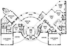Luxury Plan: 10,639 Square Feet, 6 Bedrooms, 8 Bathrooms - 5445-00188 Luxury House Plans, Best House Plans, U Shaped Houses, Veranda Interiors, 6 Bedroom House Plans, Decorative Pillars, Grand Foyer, Elegant Dining Room, Mansions Homes