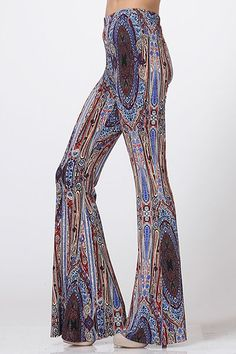 newest ffbfd 9c779 -Bohemian Stretch Palazzo-Printed Wide Leg-Imported by Trendology-60% Cotton