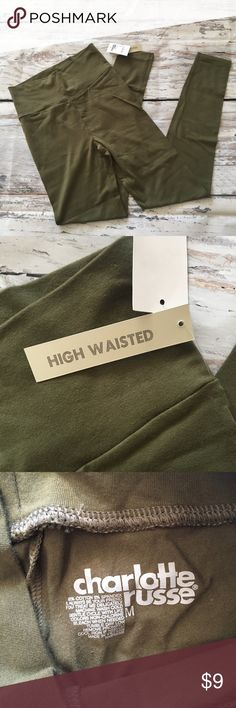 Charlotte Russe high waisted leggings in olive! Ships fast! Smoke free home! Charlotte Russe Pants Leggings