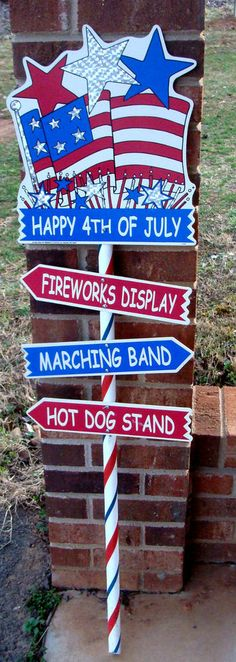 "VINTAGE YR 2000 ""Happy 4th of July"" Patriotic Yard Stake Outdoor Yard Decor **"