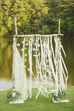 Whimsical Birch Wedding Arch / http://www.himisspuff.com/ribbon-wedding-ideas/3/