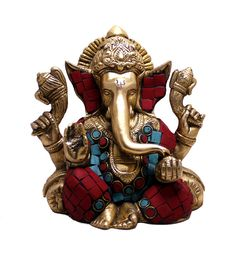 (sku no:Ganesha brass Indian Religious Gift God Ganesha with Turquoise Idol Brass Sculpture Statue Kali Statue, Saraswati Statue, Lord Shiva Statue, Krishna Statue, Brass Statues, Durga Goddess, Religious Gifts, Indian Gods, Cool Landscapes