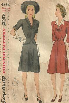 Vintage 40s naaien patroon / eenvoud 4342 / jurk / grootte 14 buste 32