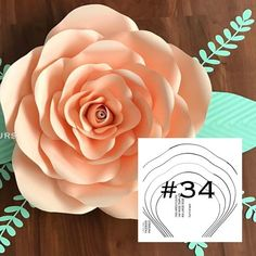 YAF Rose #34 is the large Rose. These templates are your master copy templates to help you make your paper flowers and are mailed to your home. They are made of a beautiful pearl shimmer heavy cardstock. Create as many paper flowers as you want for your next event. Use standard