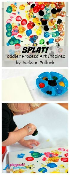 The latest in our Art History for Preschool series. Featuring Toddler Process Art, created by my 2 year old, inspired by Jackson Pollock's famous drip painting techniques and the book, Action Jackson | Art for Kids | Toddlers | Preschool | Children's Books