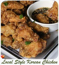 Try Korean Chicken You ll just need 2 1 2 pounds chicken wings drummettes Salt and pepper Flour Sauce 1 2 cup brown sugar 1 cup soy sauce 3 stalks Sauce For Chicken, Chicken Wing Recipes, Korean Chicken Sauce Recipe, Bbq Chicken, Shrimp Recipes, Hawaiian Dishes, Hawaiian Recipes, Korean Fried Chicken, Hawaiian Korean Chicken Recipe