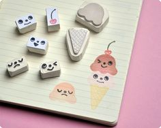 Ice Cream hand carved rubber stamp set | Flickr - Photo Sharing!