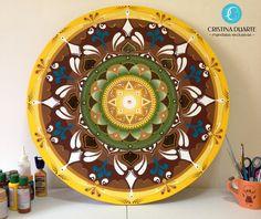 Mandala tinta acrílica em MDF by Cristina Duarte  www.cristinaduarte.com.br #cristinaduarte07 #mandala #encomenda
