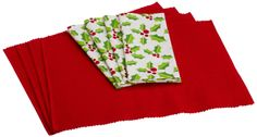 Amazon.com - DII Holly Jolly Linen Set, Includes 4 Tango Red Placemats and 4 Holly Printed Napkins - Place Mats #AmazonCart #DII #DesignImports