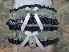 Military Air Force garter set with an Air Force Wife and mini dog tag charms with Above All embroidered on keepsake