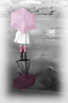 Photo by Myle Collins  Mylestone Photography  Pretty Pink Rain Boots  Portrait children, portrait child, portrait girl, rain, reflection, umbrella