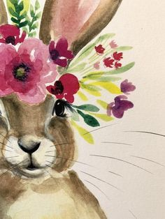 Floral Honey Bunny Watercolor PRINT original watercolor print on card stock Bunny Painting, Spring Painting, Spring Drawing, Easter Paintings, Animal Paintings, Art Actuel, Lapin Art, Art Watercolor, Watercolor Illustration