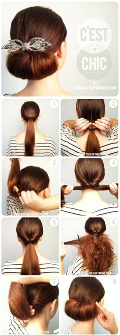 Keep the width of the chignon down if you have a square, round, or triangle face shape and add some height in the crown. For oblong, diamond or heart shape, keep the chignon wider.