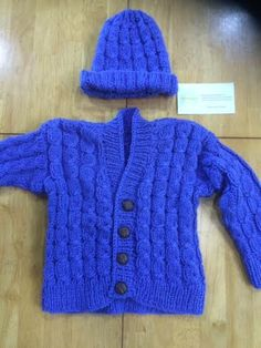Aran Hand Made, Knitted Sweater & Hat, Blue, 2/3yrs Girl/Boy, Made in Ireland, CraftyIrelandTeam by TheCraftyShamrock on Etsy Sweater Hat, Ireland, Trending Outfits, Hats, Sweaters, How To Make, Handmade, Blue, Vintage