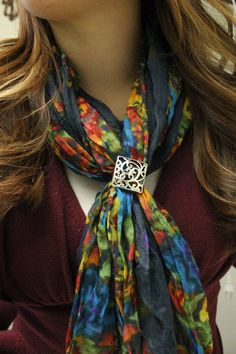 Fun with Scarves!  The Tifton Ring used to dress up your fun, fall scarf!  So versatile!  hookitup.mialisia.com