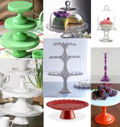 cake plates and compotes...love them for their many uses & how pretty they are stacked around; not to mention what you can put on them