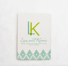 Green, blue, and white custom wedding invitation