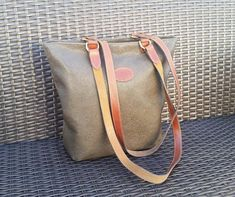 3e9e82170dd Beautiful Vintage Mulberry peat/olive green Scotchgrain and Leather Tote Bag  with brown leather shoulder
