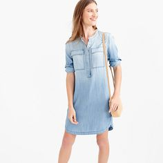 """An easy lightweight shirtdress is your ticket to one-and-done summer dressing. It's made from a supersoft, drapey chambray that's crazy comfortable and finished with a shirttail hem and faded wash that looks as if it spent hours in the sun—which is kind of the idea. <ul><li>Straight silhouette.</li><li>Falls above knee, 36 1/2"""" from high point of shoulder (based on size 6).</li><li>Tencel® lyocell.</li><li>Button closure.</li><li>Patch pockets.</li><li>Machine wash.</li><li>Import.</li></ul>"""