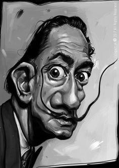 """""""Jednoho dne budeme muset oficiálně přijmout, že to, co jsme nazvali realita, je ještě větší iluze než svět snů."""" Salvador Dalí -karikatúra A3, digitálna kresba"""